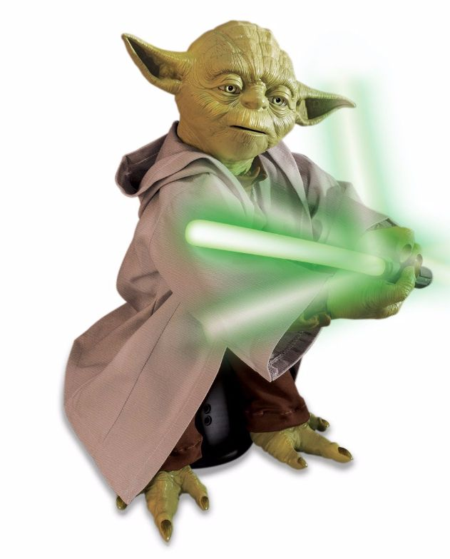 """Get your Jedi training started with this 16"""" fully interactive robotic Yoda. It's the ultimate Star Wars item for fans of all ages. He'll train you to be a Jedi Master, delivering sage advice, teaching Lightsaber® mastery and showing you the power of the force! #searscanada #starwars #force"""