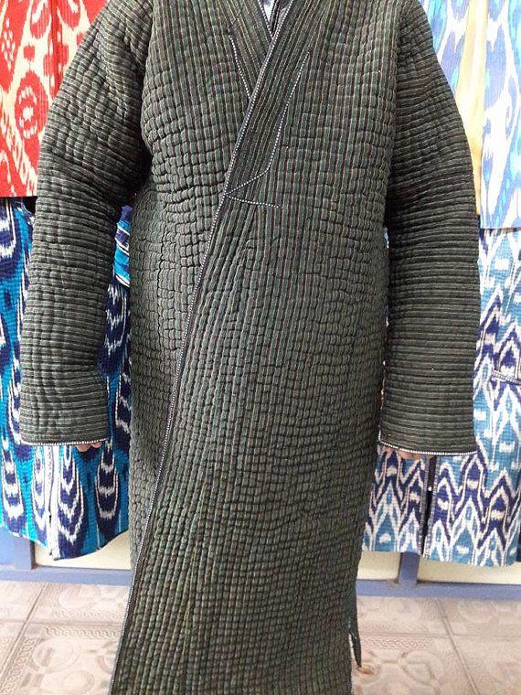 Uzbek ikat robe chapan.Handwoven Ikat Adras by SuzaniUzbekistan