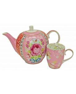 Floral Teapot with 6 mugs. Exquisite porcelain, fabulous floral design & a cute little bird!!