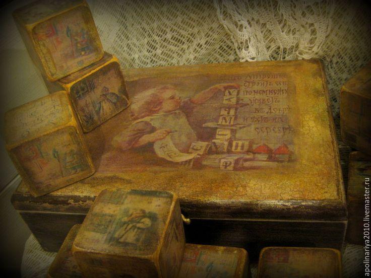 Купить Кубики-Азбука Елизаветы Бём в коробке - коричневый, кубики деревянные, кубики декупаж, шкатулка