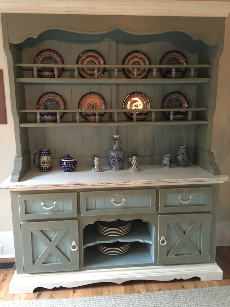 Kitchen hutch from 1990 updated with ascp chateau grey for Grey and duck egg blue kitchen