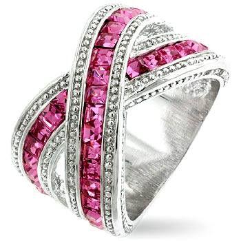 Rhodium with Pink and Diamond CZs