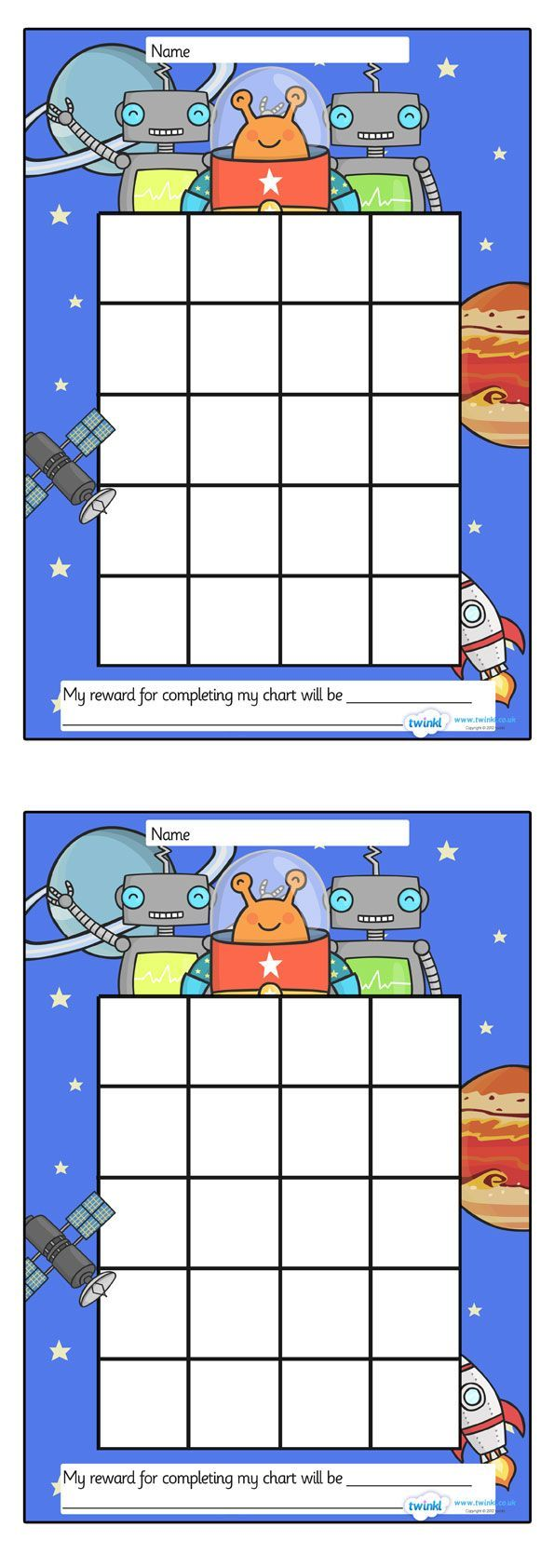 Colouring in reward charts - Twinkl Resources Space Sticker Stamp Reward Chart Classroom Printables For Pre