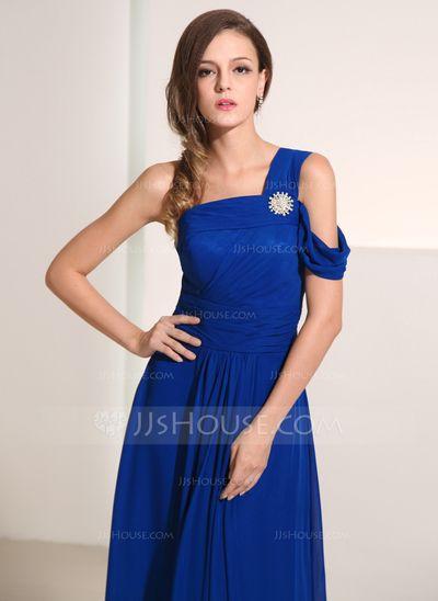 A-Linie/Princess-Linie One-Shoulder-Träger Bodenlang Chiffon Festliche Kleid mit Kristalle Blumen Brosche (020014193)