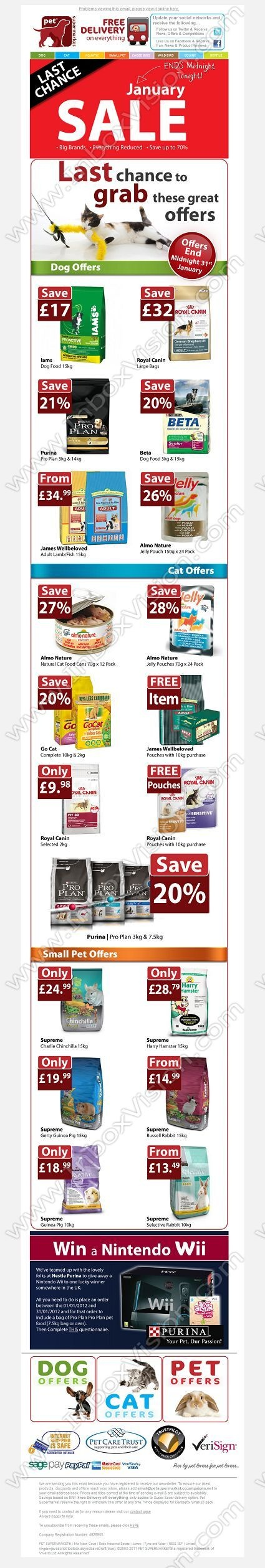 Brand - Pet Supermarket:  Subject:  Pet-Supermarket.co.uk - Last chance to save up 70% in the JanuarySALE | Must end today!