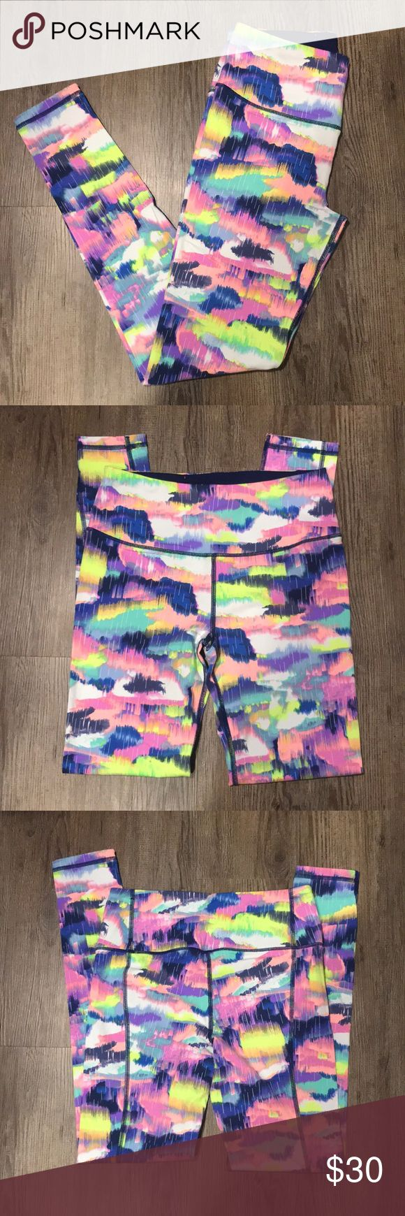 Victoria Secret Sport Knockout Tight Like new! Worn once or twice. Super cute multi-colored leggings. Victoria's Secret Pants Leggings