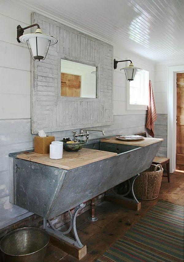rustikale badezimmer waschbecken lampe idee wohnen deko pinterest. Black Bedroom Furniture Sets. Home Design Ideas