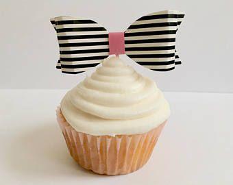 Kate Spade Bridal Shower - Kate Spade Party - Black & White Stripes - Kate Spade Baby Shower - Set of 12 or 24