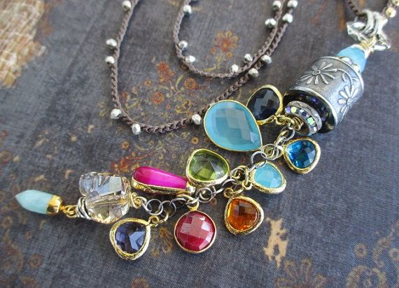 Colorful crochet fine silver necklace  Falling by slashKnots