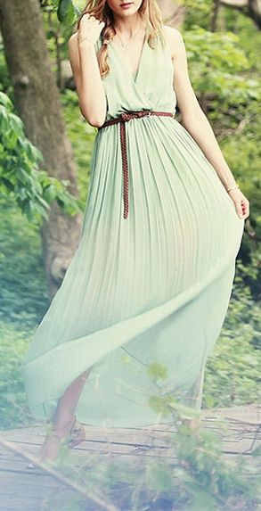 Mint Pleated Tank Maxi <3 - going away dress? @Katherine Mallett