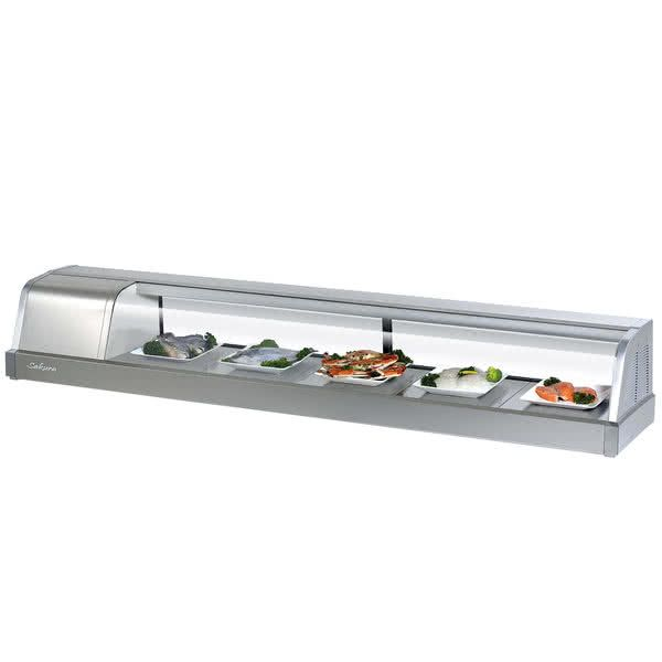 """Turbo Air Sakura-70 70"""" Stainless Steel Curved Glass Refrigerated Sushi Case - Left Side Compressor"""
