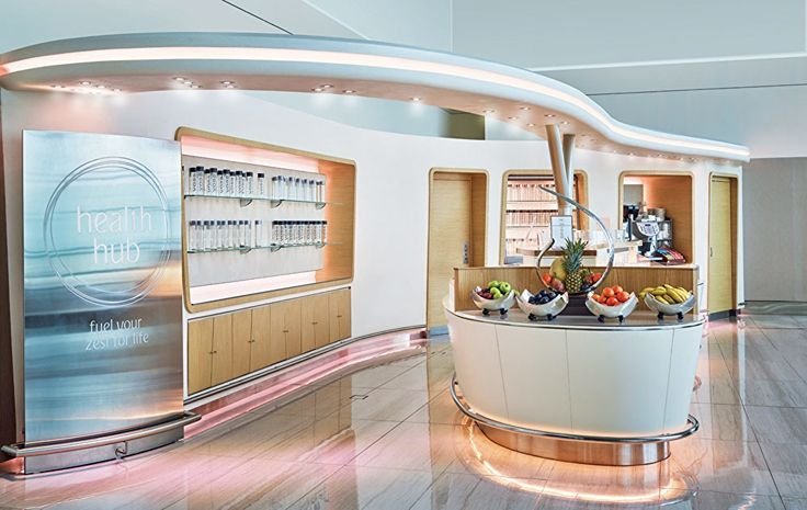 """Emirates Business Class Lounge at Dubai International Airport has partnered with Voss water and designed a """"Health Hub"""", where you can indulge, guilt-free, on fresh fruit and water infusions, smoothies, fruit juices, mouth-watering wraps, salads and sandwiches."""
