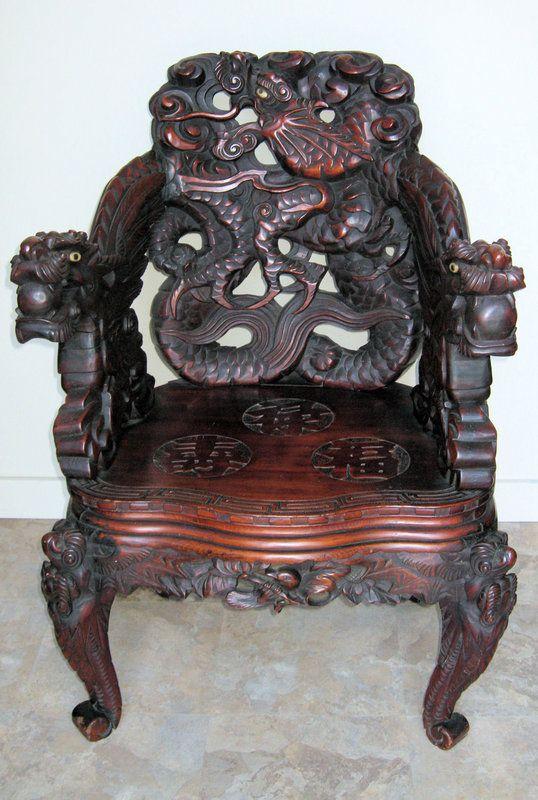 Japanese Art Nouveau Carved Dragon Chair. Pre 1910.