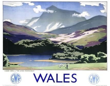 Welsh Railway Travel Poster Print, Cader Idris, The Afon Mawddachw Wales by GWR. Art by Sir Herbert Aiker Tripp.
