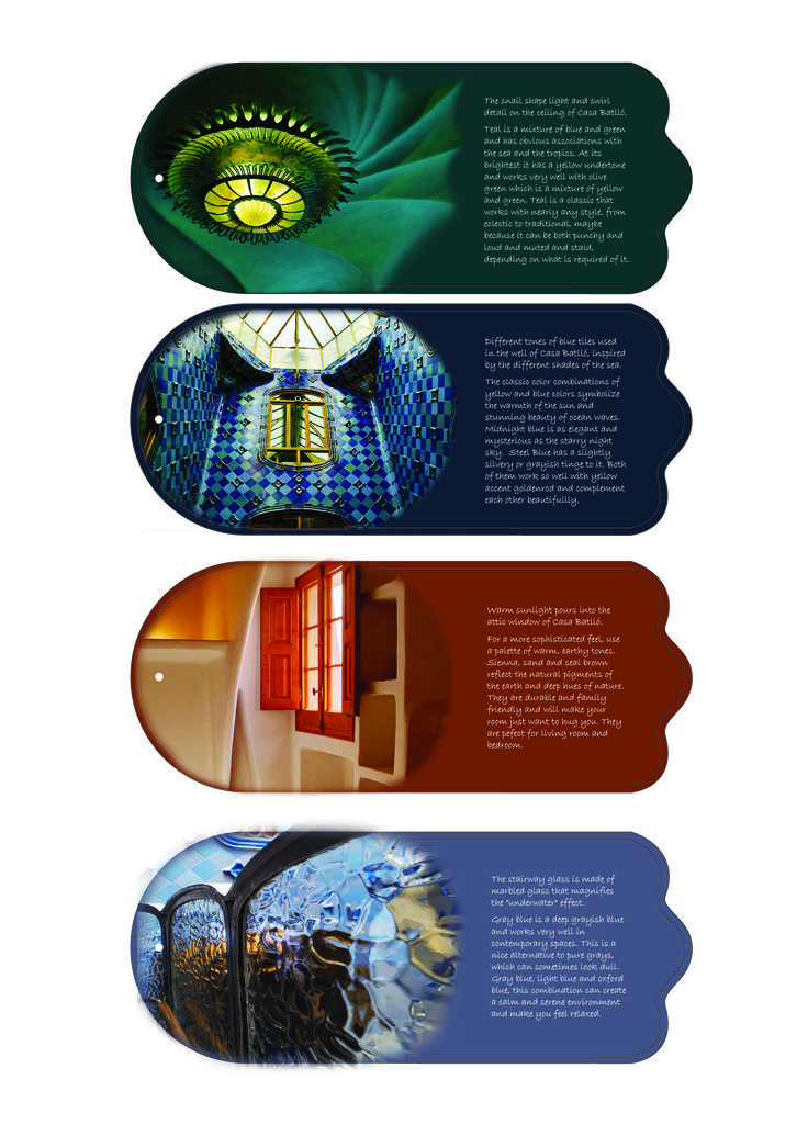 Swatch cards design (front). My theme is Gaudi's fantastic building Casa Batllo. All images were taken a few years ago when I was travelling in Barcelona.