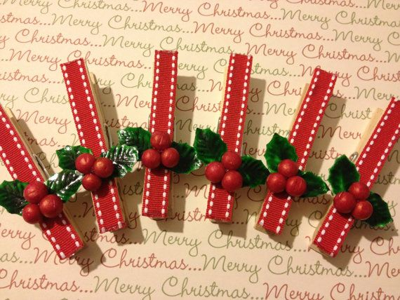 Clothes Pins, Christmas Ornament, Package Topper, Wrapping Paper, Paper Pin, Holiday Decoration,