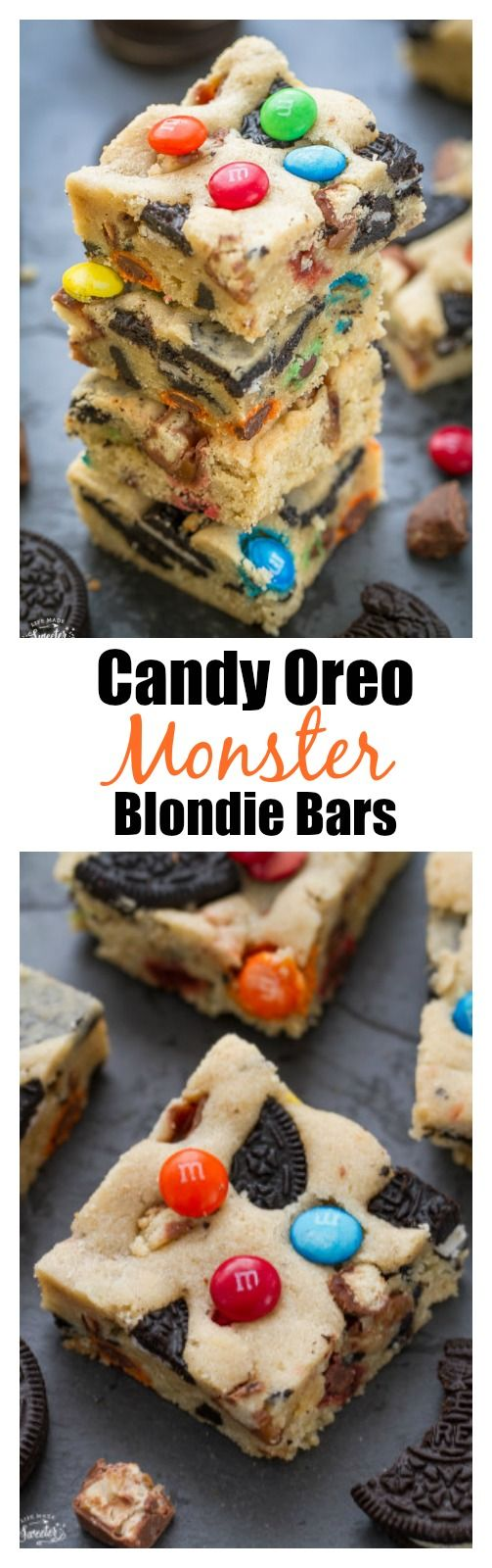 Candy Oreo Monster Blondie Bars are loaded with M&M's, chopped Twix & Oreo cookies. Soft, chewy & perfect for using up leftover Halloween candy!