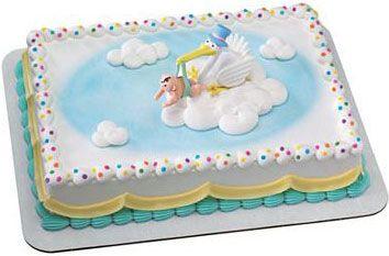 stork Baby Shower sheet Cakes    Easy baby shower stork cake