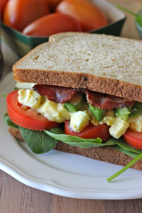 Egg Salad BLTA Sandwich...Would be SO awesome on lightly toasted Dave's Killer Bread :) mmmmmm.