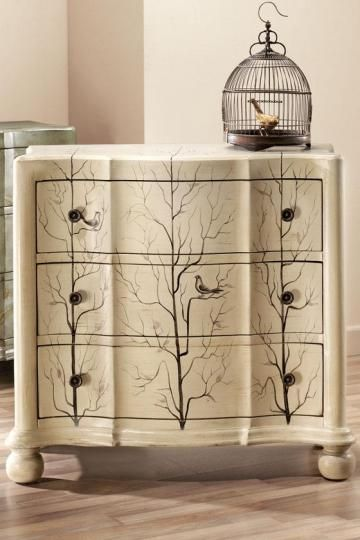 Tree and bird painted chest of drawers