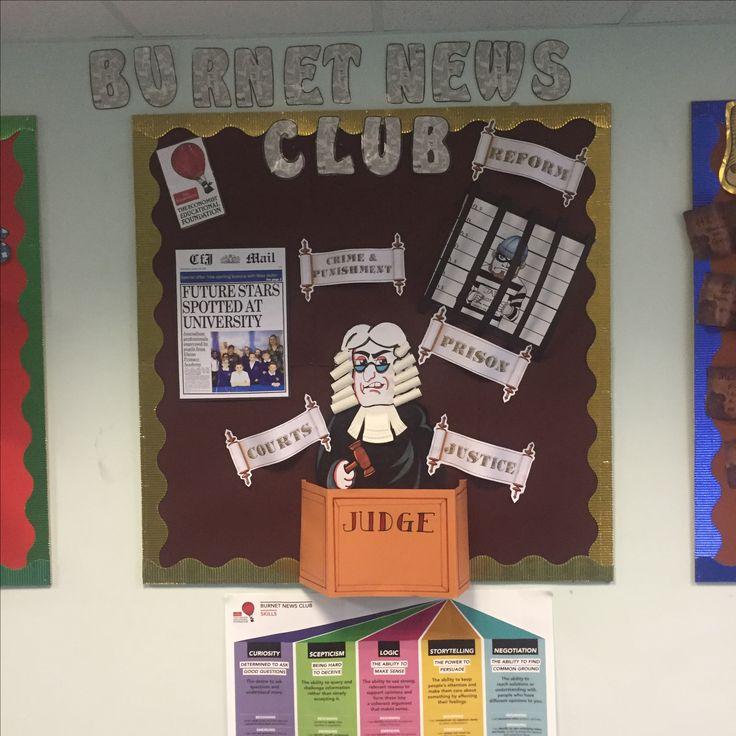 Primary school display. Burnett news club. Made by Charley