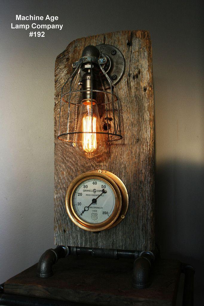 Steampunk Lamp, Antique Steam Gauge, Barnwood #192