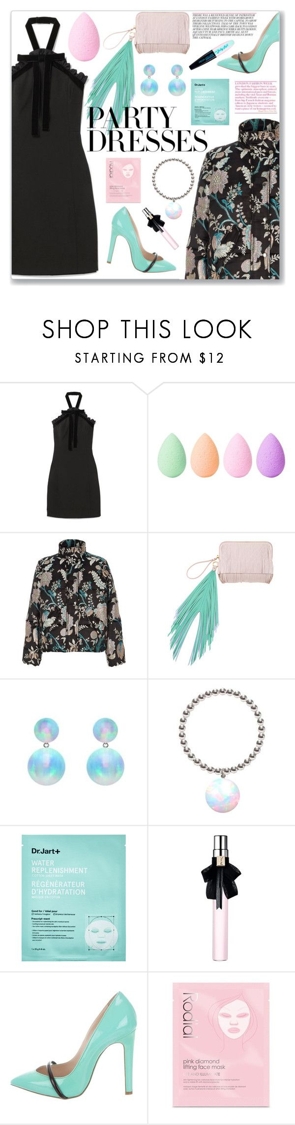 """How to wear a Velvet Mini Dress!"" by disco-mermaid ❤ liked on Polyvore featuring MICHAEL Michael Kors, beautyblender, River Island, The Volon, ORA Pearls, Sephora Collection, Yves Saint Laurent, Ruthie Davis, Rodial and L'Oréal Paris"