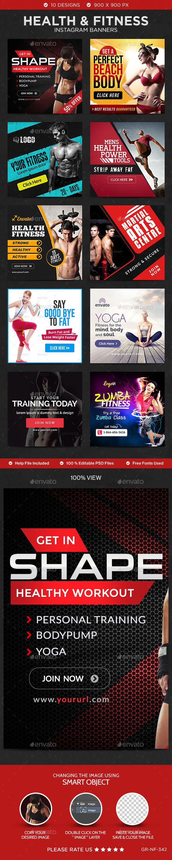 Health & Fitness Instagram Templates - 10 Designs. download: http://graphicriver.net/item/health-fitness-instagram-templates-10-designs/11275859?ref=ksioks
