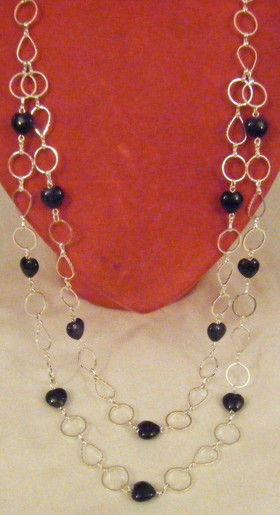 collana a 2 giri con pietre dure ,pietra della luna, a forma di cuore e catena in metallo colore argento , by crys_e_cri, 30,00 € su misshobby.com