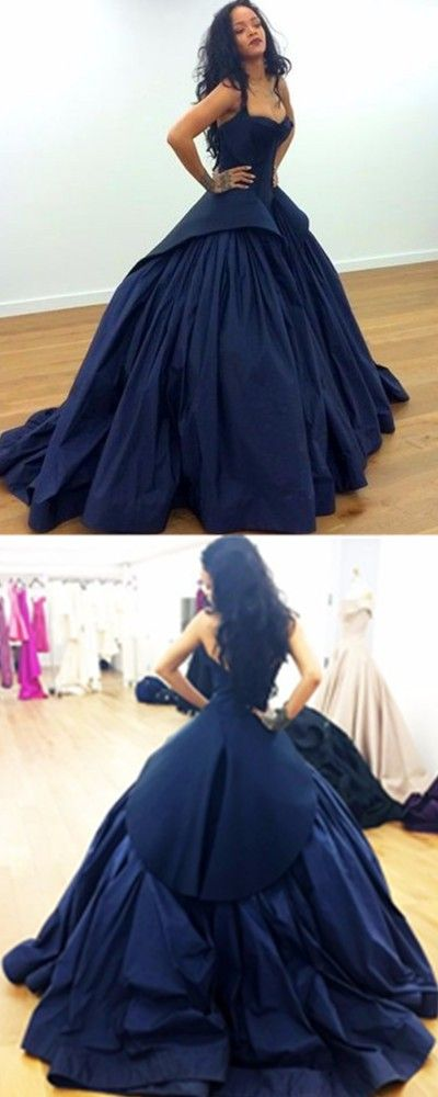 navy blue Prom  dress 2017 Classic Navy Ball Gown Sweetheart Sleeveless Zipper Back Taffeta Long Prom Dresses Formal Occasion Dresses