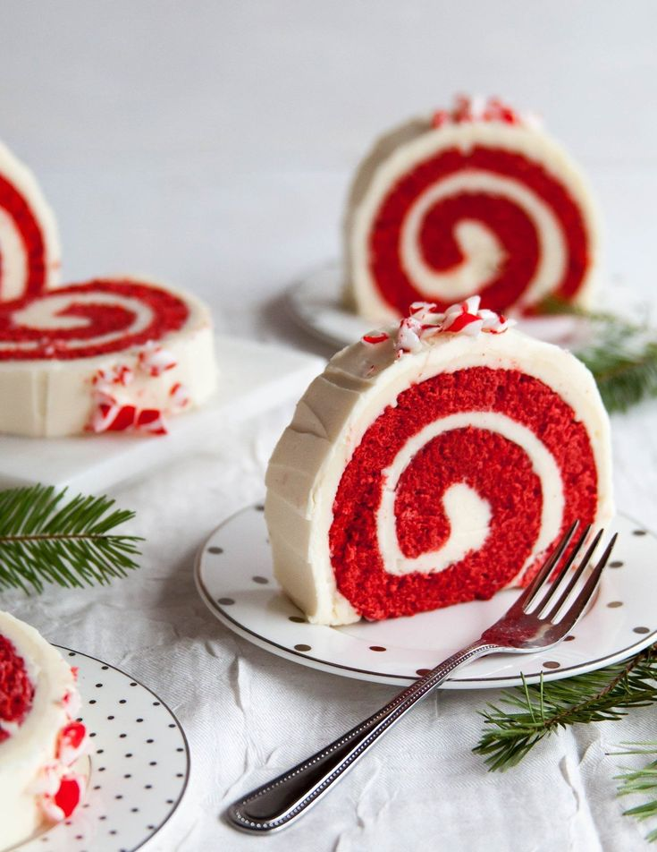 Peppermint Red Velvet Cake Roll: This red velvet cake roll is not only surprisingly easy to put together during the busy holiday season, but it will look stunning on any dessert table. With tender red velvet sponge cake and a silky peppermint buttercream, this is a fun spin on a classic, crowd-pleasing dessert.