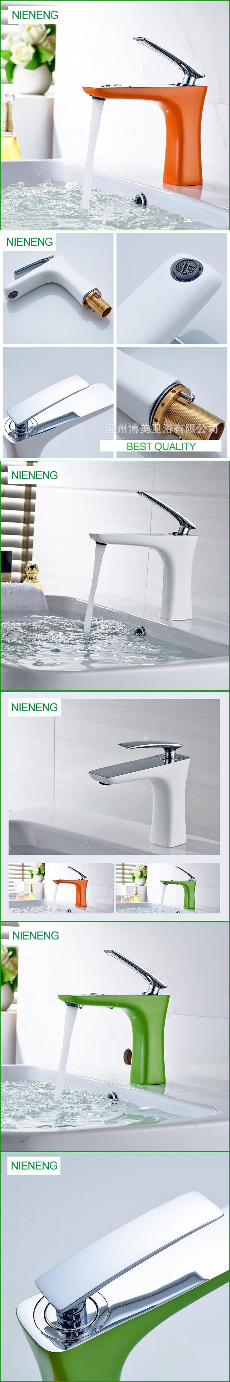 NIENENG bathroom faucet copper basin sink mixers white faucets sink taps green luxury cabinet tap mixer accessories ICD60166