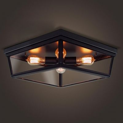 four light black flush mount ceiling light with glass shade