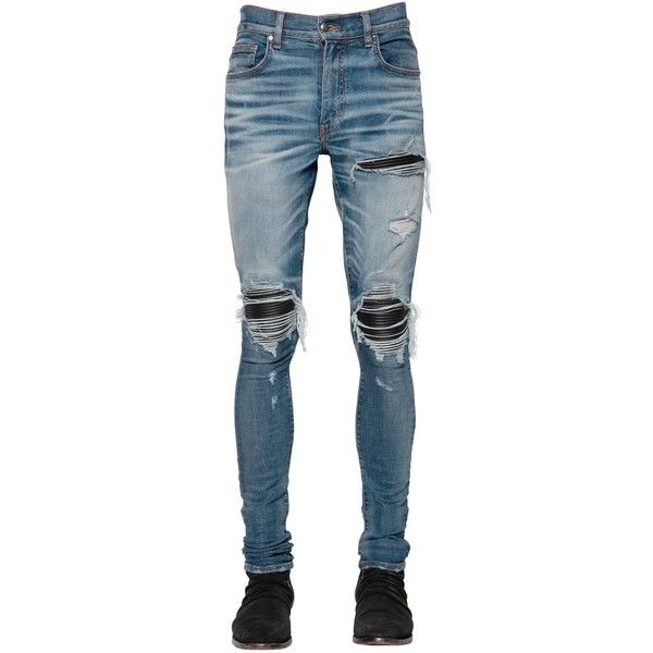Amiri Men 15cm Mx1 Leather Patch Denim Jeans (5.015 BRL) ❤ liked on Polyvore featuring men's fashion, men's clothing, men's jeans, medium indigo, mens tapered jeans, mens distressed jeans, mens leather jeans, mens jeans and mens torn jeans