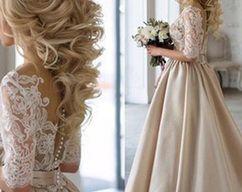 2017 Wedding Dresses, Lace and Satin Wedding Dress, Champagne Wedding Dresses, Wedding dresses A-line, Elegant Wedding Gown, Wedding Dresses
