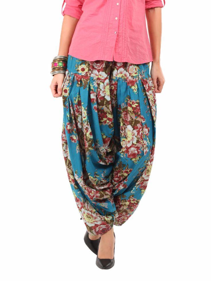 Shree Women Turquoise Blue Printed Patiala Pants