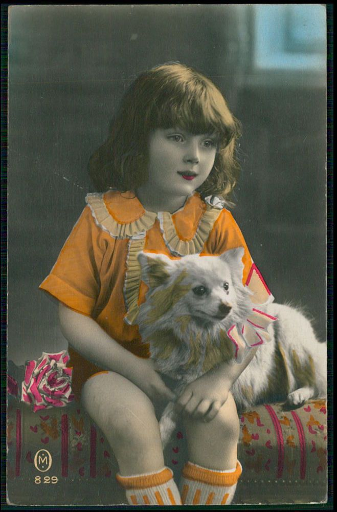 Child Girl and Pomeranian Spitz Dog original old c1920s tinted photo postcard