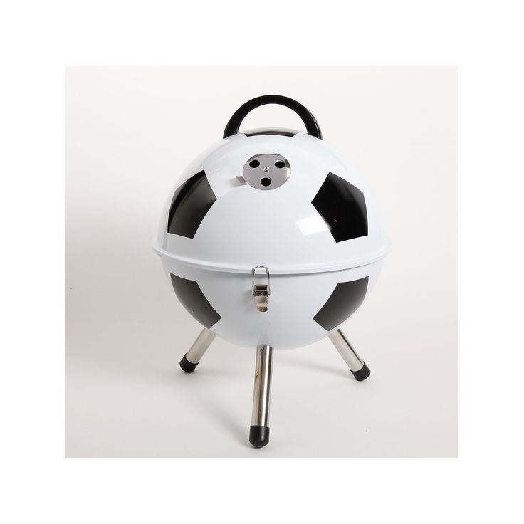 Gibson Soccer Ball BBQ Portable Charcoal Grill, White