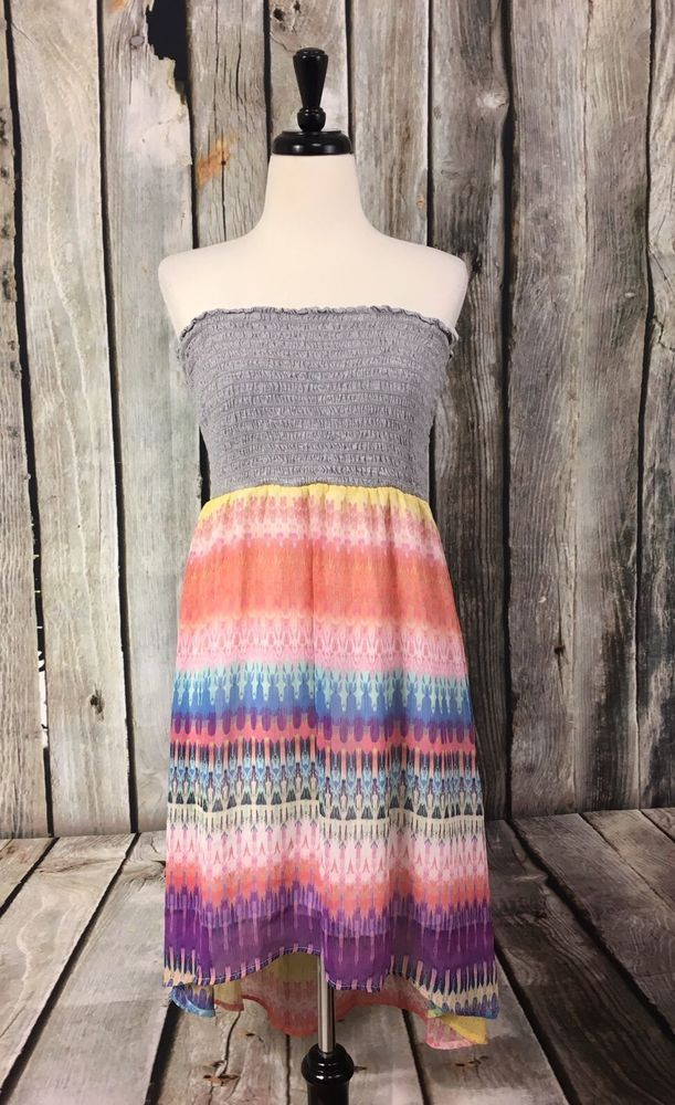 Maurices 2X Plus Dress Strapless Hi-Low Chiffon Multi-Color Gray Smocked Top #Maurices #ALineDress #Casual