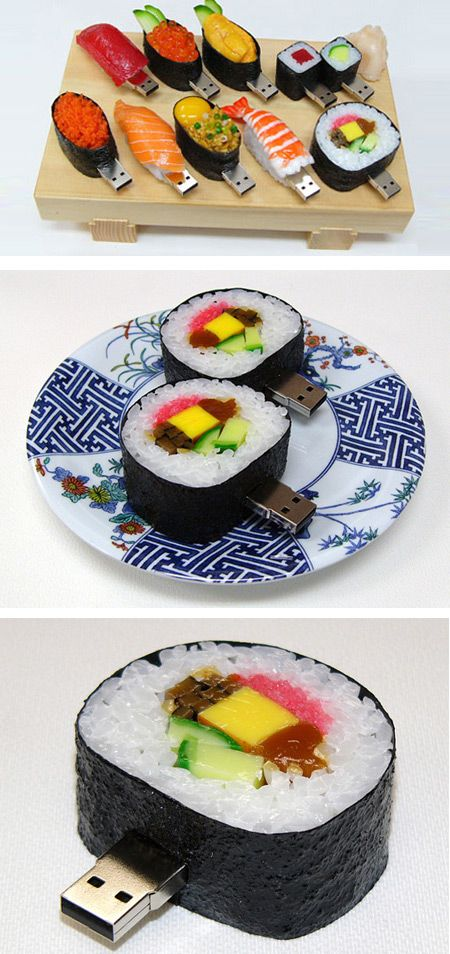 Sushi USB Flash Drives.... aha for the love of sushi <3