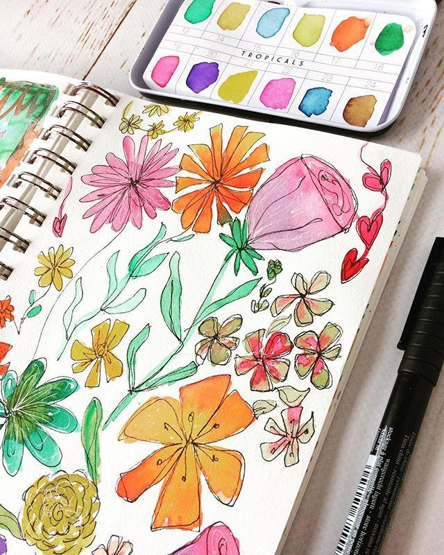 Great brain shut down therapy! Some sketchy florals for no