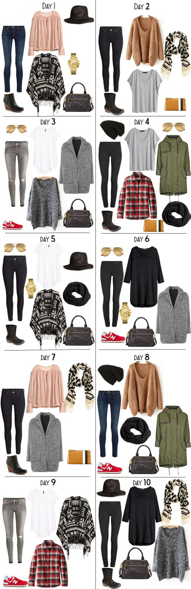 Outfit options for the packing light 10 Days in New Zealand packing list on my blog. #packinglight #travellight #packinglist