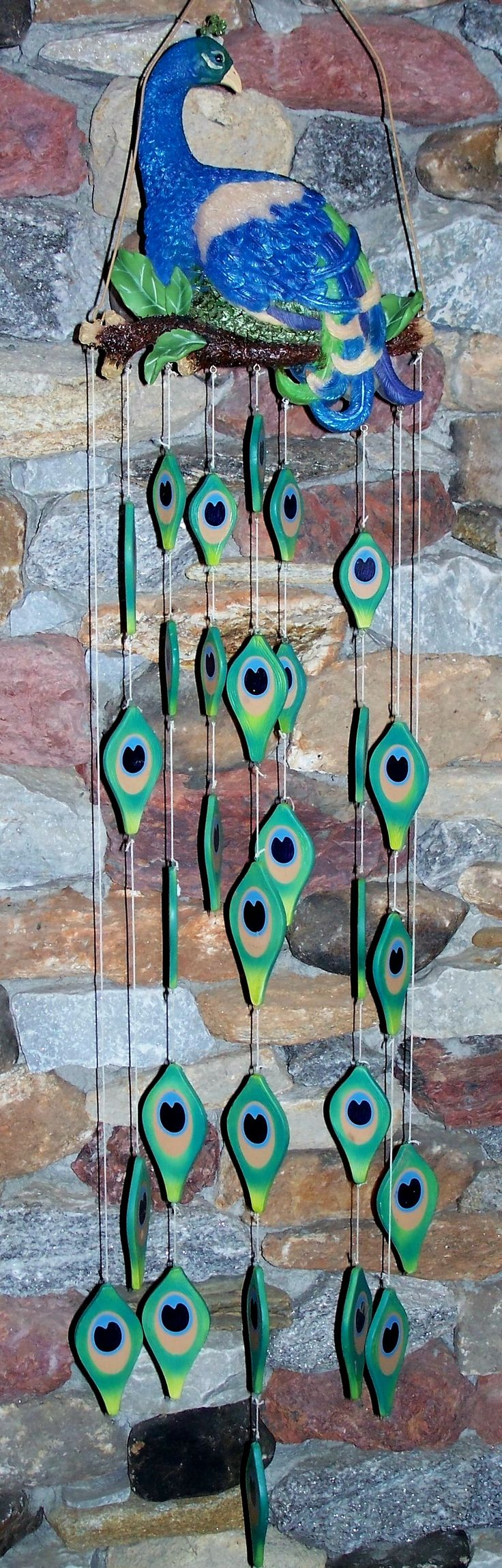 Large Peacock Decorations | WIND CHIME w/ CERAMIC FEATHER CHIMES