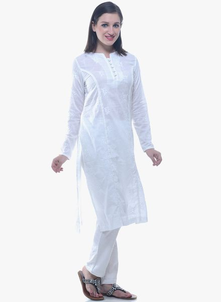 Buy Lyla White Embroidered Kurta Pant Set for Women Online India, Best Prices, Reviews | LY501WA28IETINDFAS