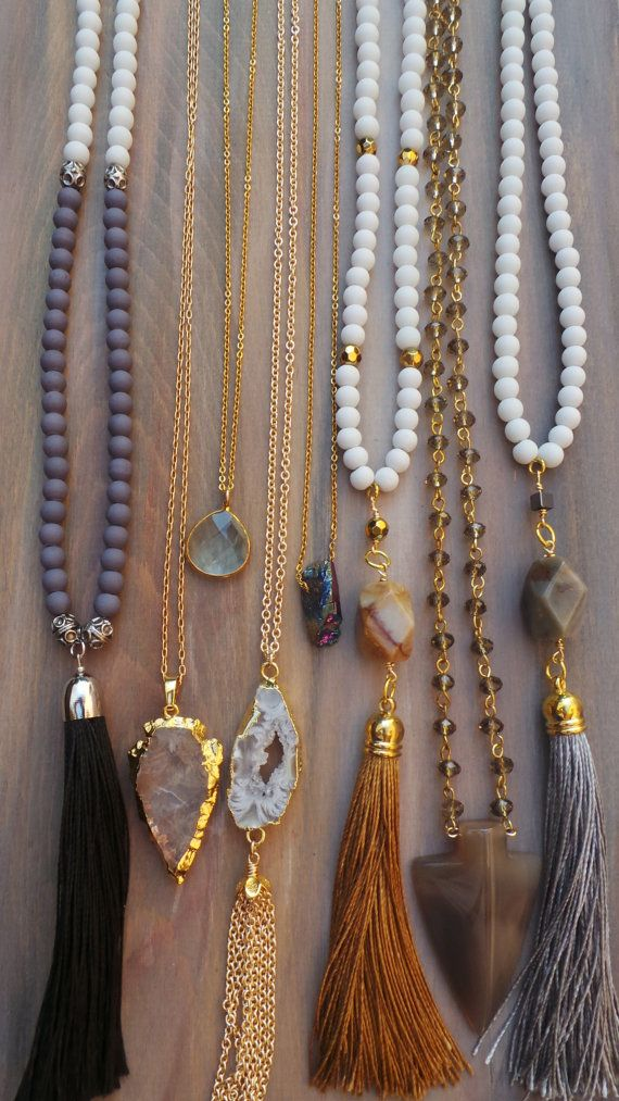 Long beaded tassel necklace. Boho chic by AllAboutEveCreations