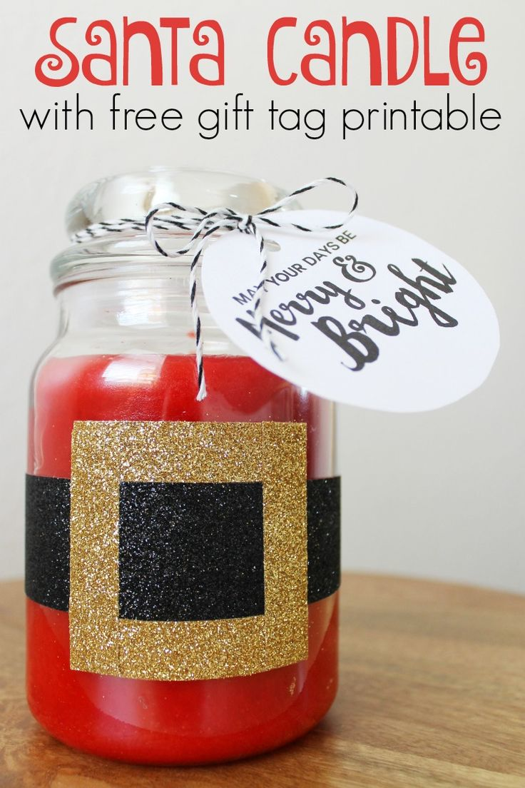 """Washi Tape Santa Candle and FREE """"Merry and Bright"""" Printable Gift Tags: Child at Heart Blog #loveamericanhome #ad"""