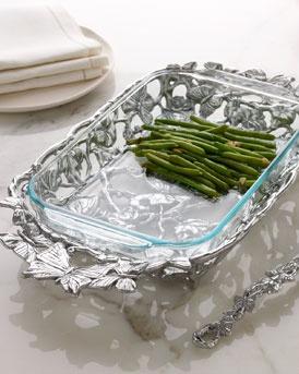 Arthur Court  Butterfly Casserole Holder with Three-Quart Pyrex Dish