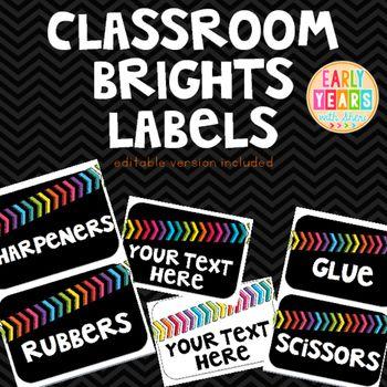 Chevron Brights Classroom Labels with editable versions included.