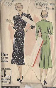 1930s Vintage Sewing Pattern B36 Dress R859 BY DU Barry | eBay