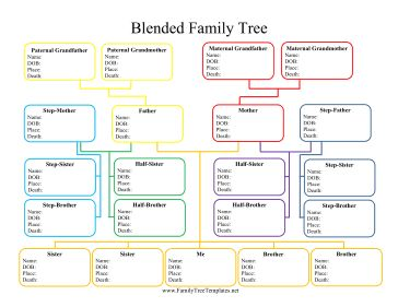 Color-coded for ease of use, this printable blended family tree provides statistics for grandparents, parents, step-parents, half siblings, step siblings and brothers and sisters. Free to download and print